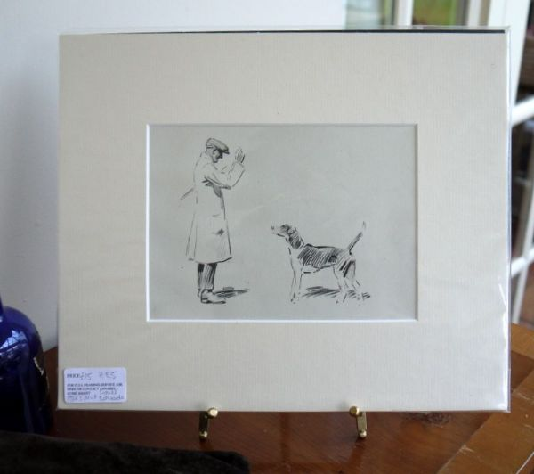Man with Hound - H E5 -   1930's print by Lionel Edwards